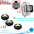 3 Watch receiver with 22 Table Buttons Black-Yellow Color Service Call Waiter Call Bell System