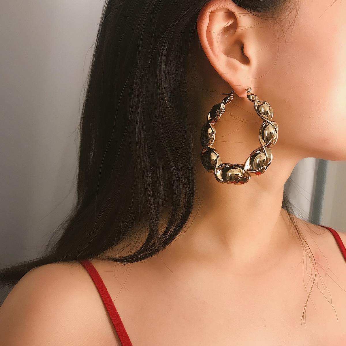 Luxury Punk Gold Color Big Hoop Earring For Women Irregular Geometric Bead Statement Brincos New Fashion Jewelry