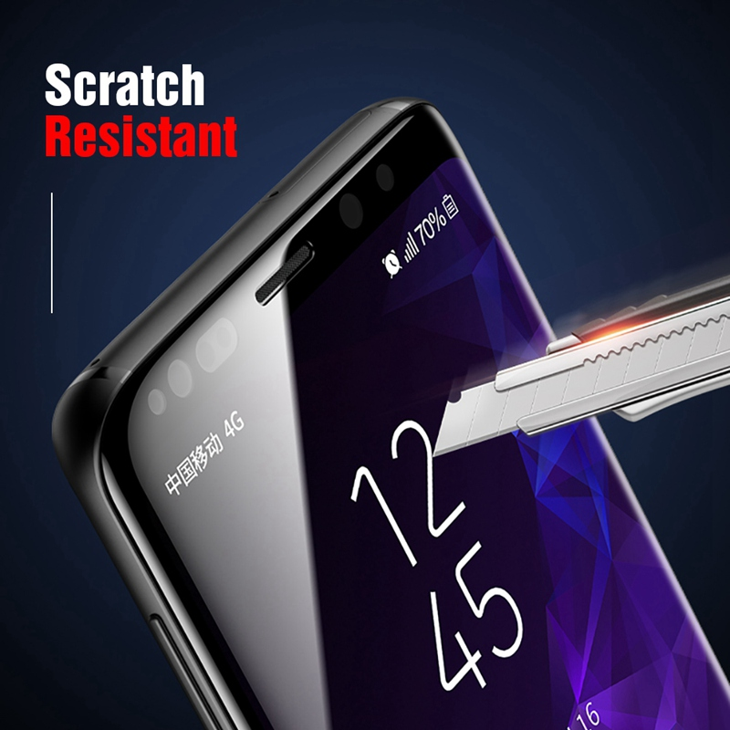 TOMKAS 5D Full Cover Glass For Samsung S9 S8 Plus Screen Protector Tempered Glass For Samsung Galaxy Note 8 9 Screen Protector