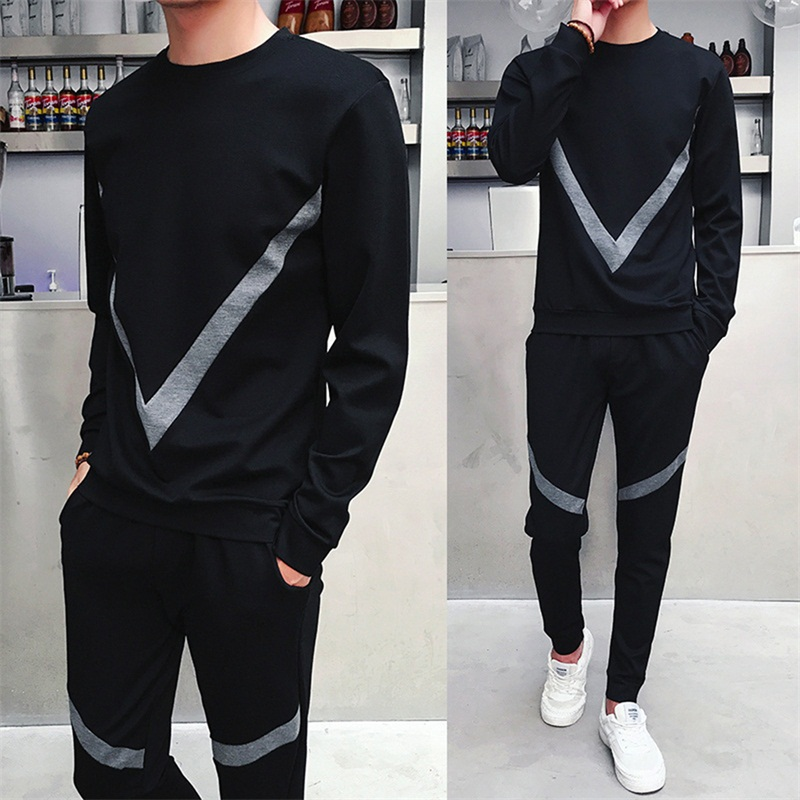 5XL Casual sporting suit men BIG V print autumn large size tracksuit track hidden suspenders Black polo mens sweat suits set