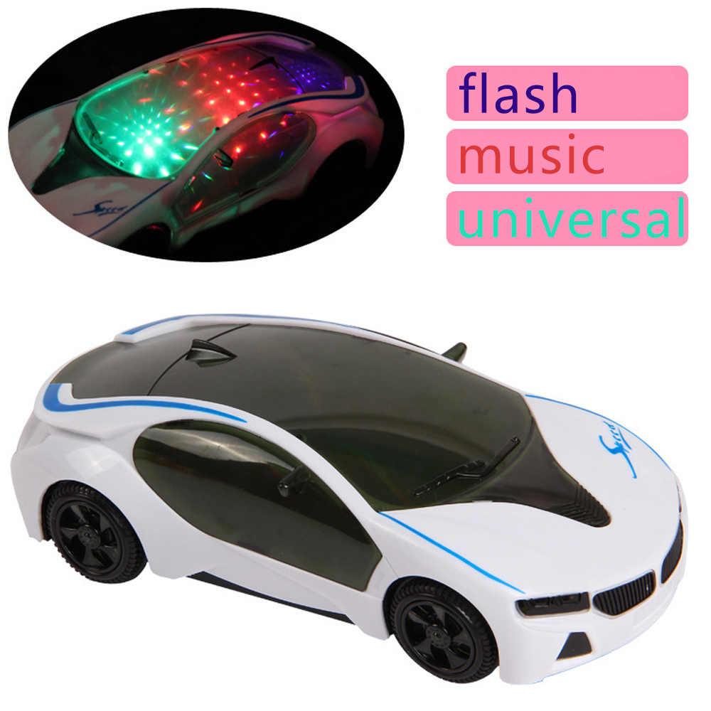 1pc Crianças Carro Elétrico RC Modelo de Plástico Brinquedos 3D Luz Intermitente Música Universal Emulação Brinquedo Do Carro Esporte Para Criança presentes de Aniversário