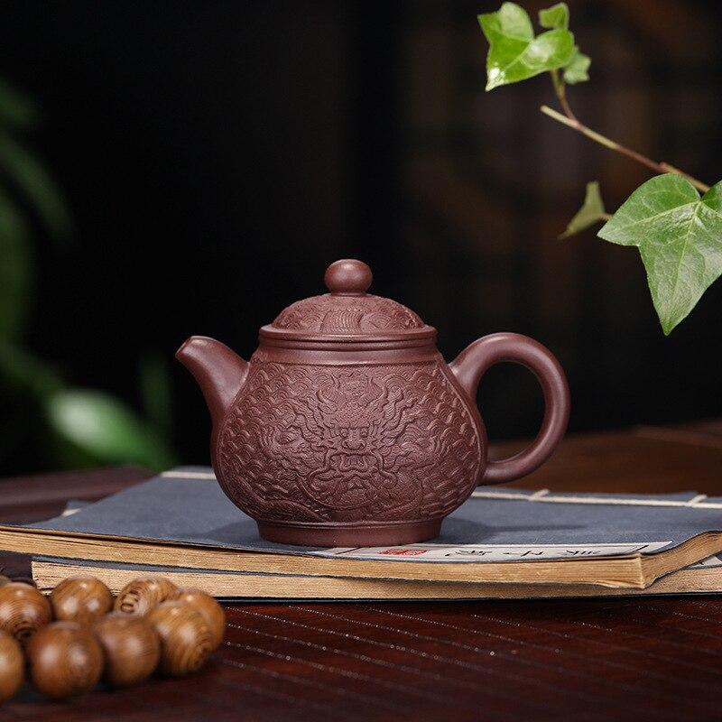 Yixing Yixing thé ensemble marchandises minerai brut encre pourpre pour l'impression de joints en Relief Dragon en forme de casserole Pot