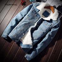 DIMUSI Winter Herren Denim Jacken Mode Männer Fleece Dicke Warme Jeans Jacke Männer Beiläufige Dünne Outwear Windjacke Cowboy Mäntel 6XL