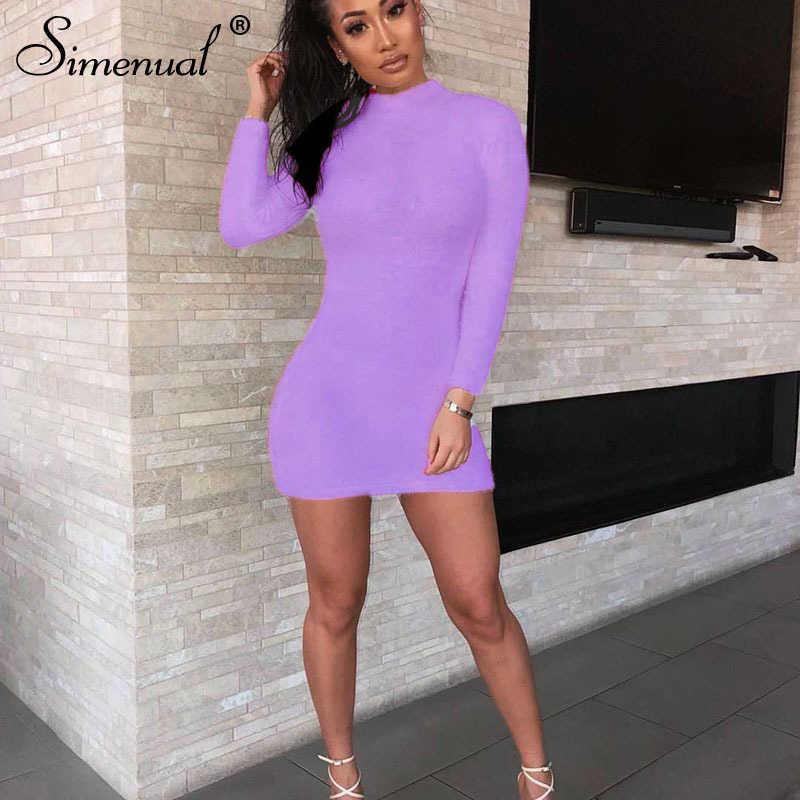 Simenual セクシーな毛深いボディコンドレス女性の秋 2019 ファッションドレスパーティー長袖クラブウェア毛皮のような固体の基本的なミニドレススリム