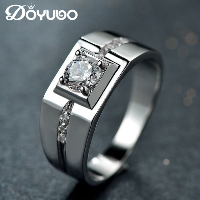 DOYUBO Luxury Men's Solid Sterling Silver Rings With White Cubic Zircon Fashion New Male Real 925 Silver Rings Jewelry VB052