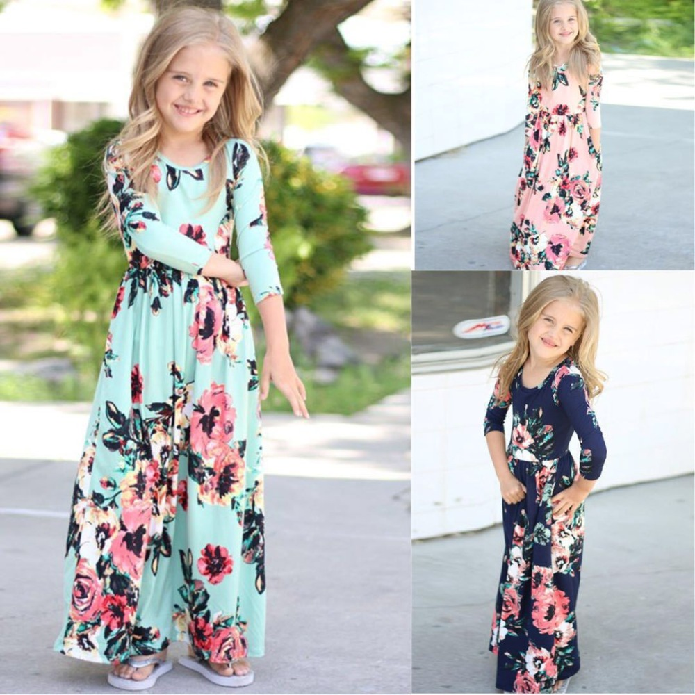 2019 Summer Bohemian Long / Short Sleeve Print Birthday Party Maxi Dress Floral Child Girls Beach Dress image