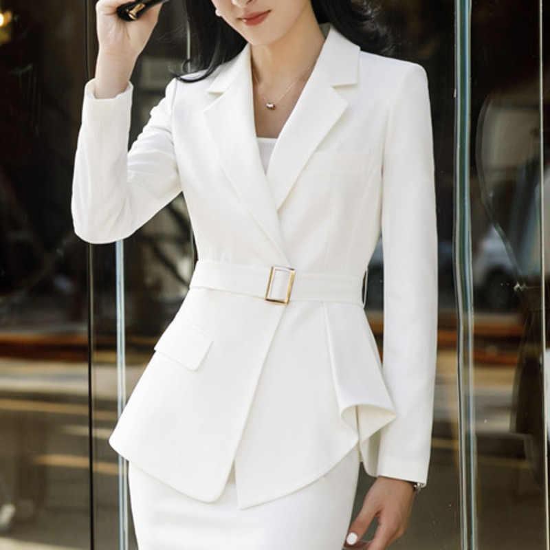 bb49a2a29 Women Fashion Casual Autumn Blazers Female Irregular Hem Belt White ...
