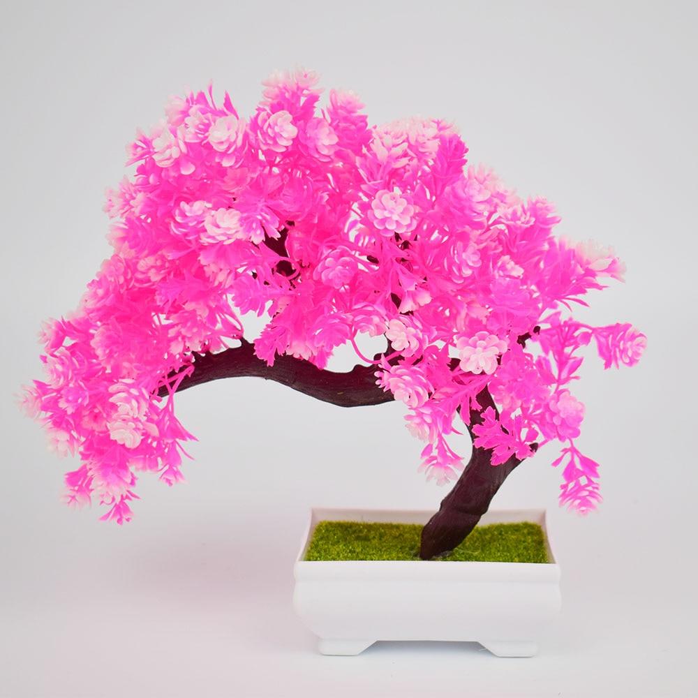 Mini Plastic Artificial Bonsai Trees Fake Pine Tree Flower Bonsai