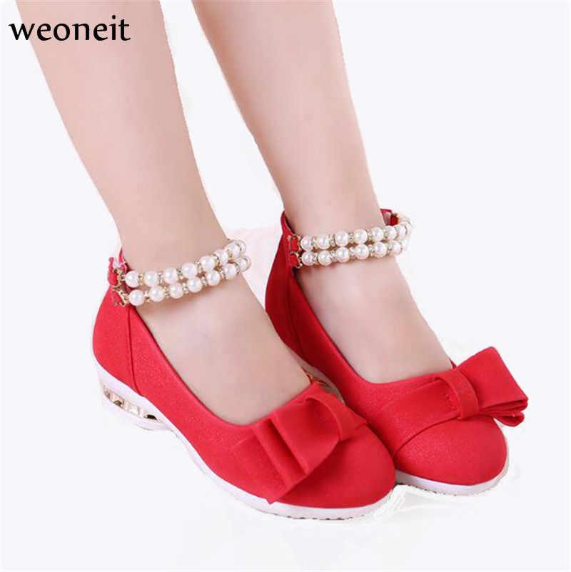 Weoneit New Spring Autumn Children Shoes Girls Sandals Pearls Princess  Girls Shoes Kids Girls Wedding Party 7877760f725f