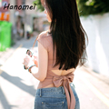 2017 Korean Stylish Sexy Back Bow Cropped T Shirt Women Cotton Short Sleeve t-shirt Fashion Solid Backless crop top C406