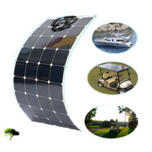 100w Flexible Solar Panel PV Photo-voltaic Boat Marine Caravan Home 12V battery(China)