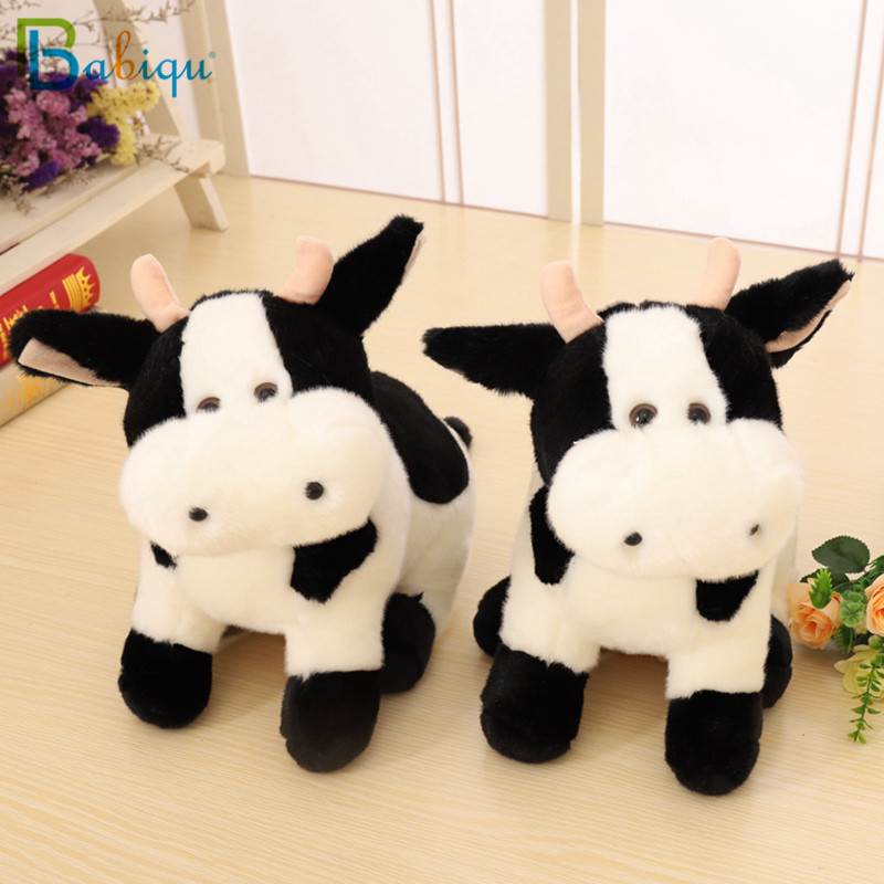Babiqu 1pc 30cm Super Cute Milk Cow Plush Toy Lovely Zodiac Cow Shy Cattle Appease Doll Creative Birthday Christmas Gift