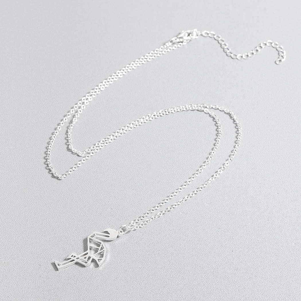 Minimalis Origami Flamingo Necklace Stainless Steel Geometric Animal Flamingo Necklaces & Pendants Party Accessories