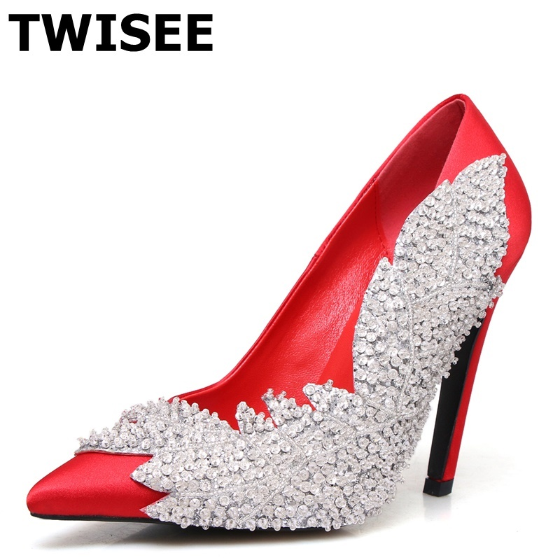 chaussure femme Pumps zapatos mujer new style fashion point toe shallow thin high heels 11 cm woman casual shoes crystal