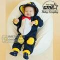 Estilo coreano Ropa de Las Muchachas Del Bebé Encantador Lindo Ropa para Niño Recién Nacido Divertido Peluche Pingüino Footies Encapuchados Traje Lindo
