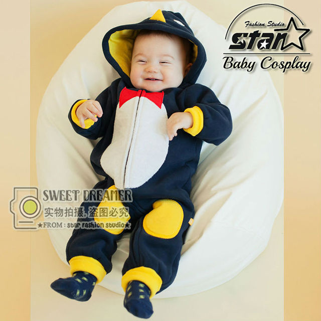 Korean Style Baby Cute Lovely Clothing for Newborn Infant Boy Girls Clothes Funny Stuffed Penguin Hooded Footies Cute Costume