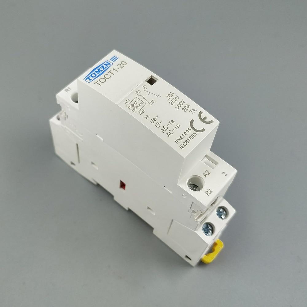 CT1 2P 20A 1NC 1NO 220V/230V 50/60HZ Din rail Household ac Modular contactor ac 220v 10a 110v 20a 1no 1nc dpst double pole single throw electric tool switch