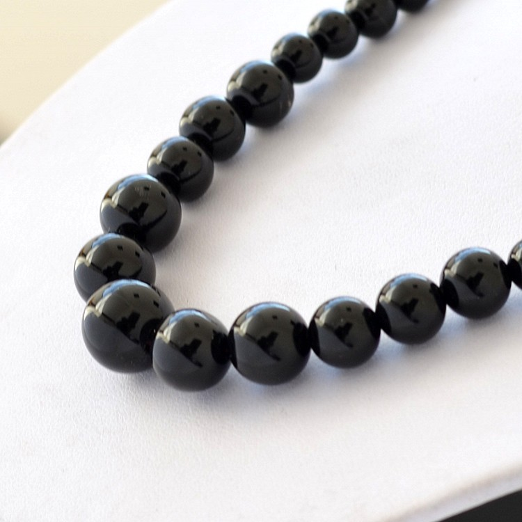 Beads 6-14mm natural black agate necklace chain natural stones fine jewelry vintage accessories necklace women chain