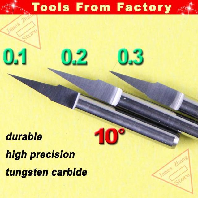 10 pièces 3.175mm Shk 10deg 0.1mm fond plat CNC bois routeur machines-outils coupe Bits sculpture V forme gravure outil PCB coupeurs