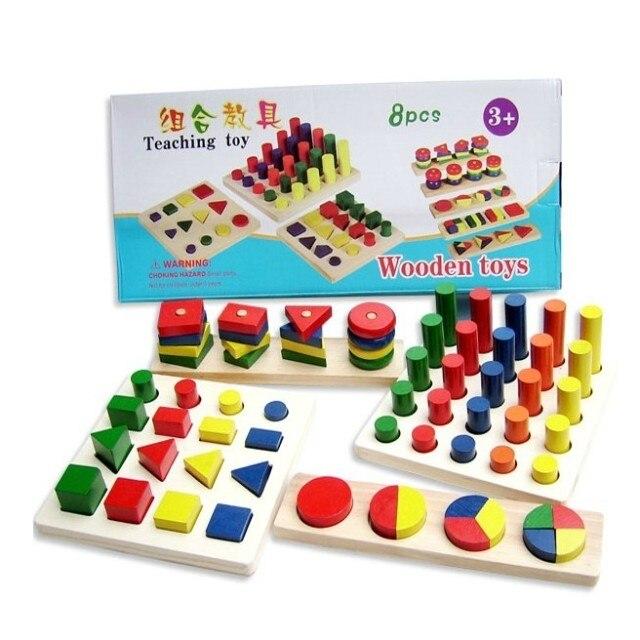 Livraison gratuite jouets éducatifs géométrie forme-puzzle combinaison 8 ensemble/boîte Montessori enseignement philosophie