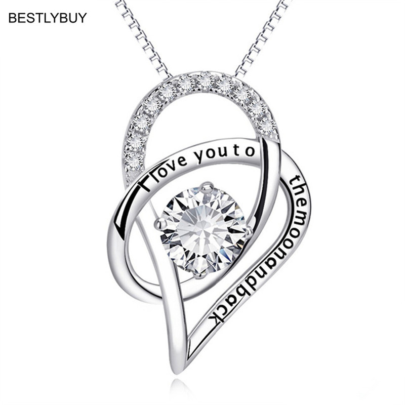 6 Colors Genuine 925 Sterling Silver Heart Lettered Pendant Necklace Crystal Pendants & Necklaces For Women Fine Jewelry