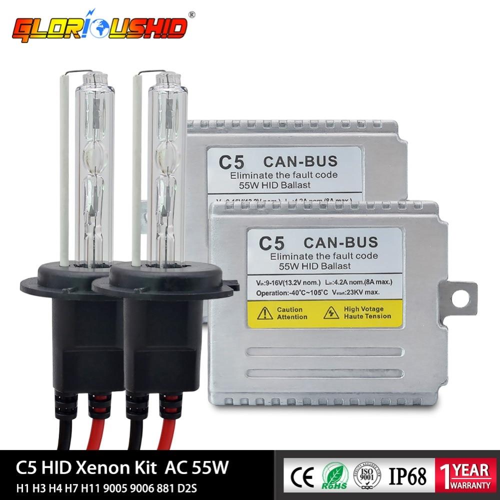 Xenon H7 C5 55W Canbus Xenon H4 9005 9006 881 H7 H1 H3 H11 HID Kit 4300k 5000k 6000k 8000k Electronic Ballast Xenon Kit AC 12V