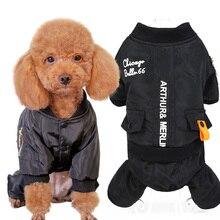 Теплая зимняя одежда для собак черный собака комбинезон пальто водостойкие куртка для домашних животных пальто для маленьких собак s m l xl