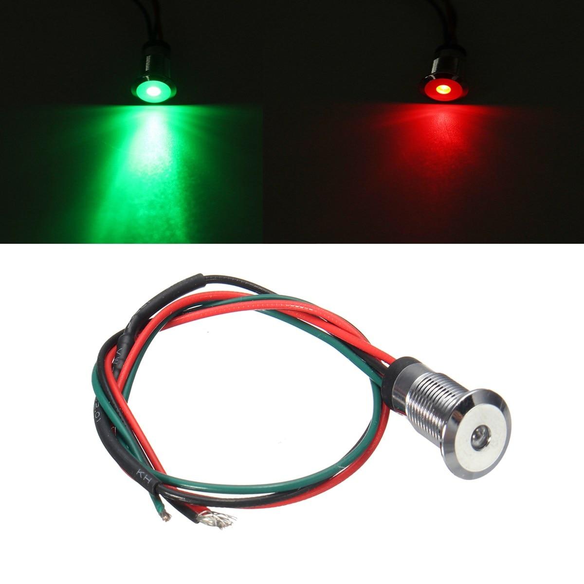 12V 8mm Warning Light Dual Color LED Green+Red Dash Pilot Panel Indicator Car Boat Truck