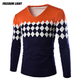 New Arrival Men's Casual Long-sleeved Sweater Slim Fit V-Neck Geometric Pattern Knitted Pullover Men Asian Size M-XXL