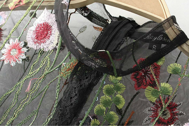 Ky&Q Sexy Mesh Flower Embroidery Tops Women Blouses 2017 Woman Shirt - Women's Clothing - Photo 4