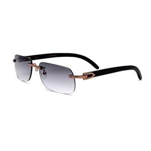 القرن الطبيعية رجل النظارات الشمسية UV400 بدون شفة مستطيل نظارات للرجال خمر النظارات الشمسية مع مربع ، حالة حجم: 58-17-140mm
