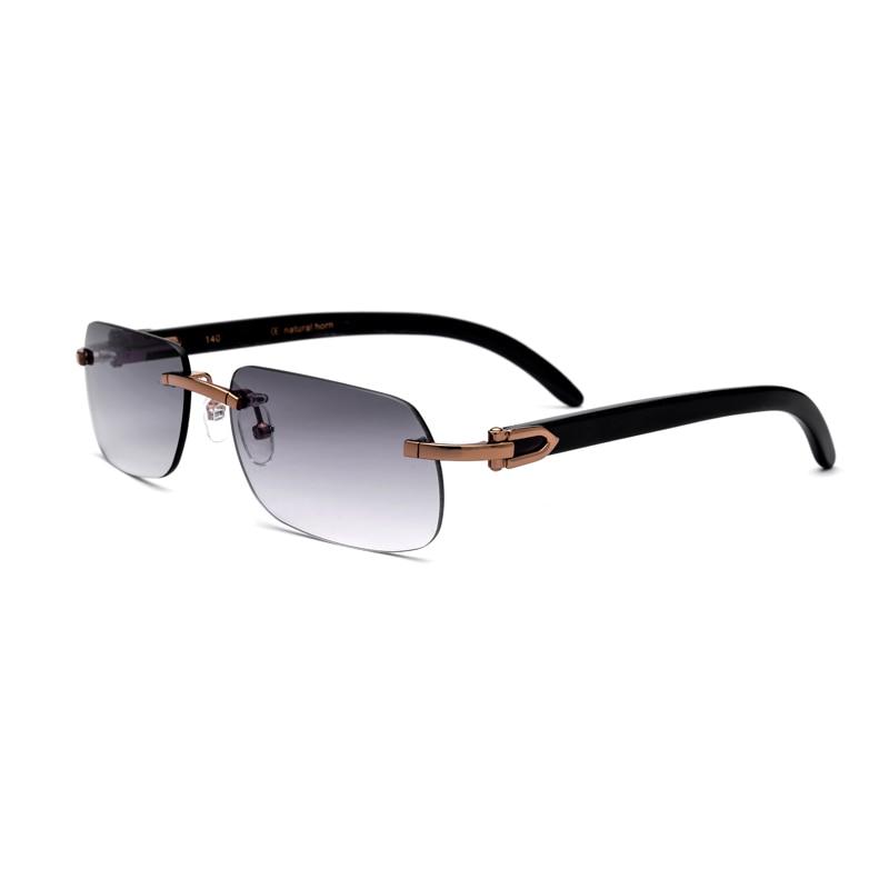 Naturel Corne Homme lunettes de Soleil UV400 Sans Monture Rectangle Lunettes Pour Hommes Vintage lunettes de Soleil Avec la Boîte, Cas Taille: 58-17-140mm