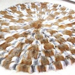 Ronde bont tapijt wit rood grijs 11 kleuren real vos bont tapijt 150*150 cm voor meubelstoffen B101