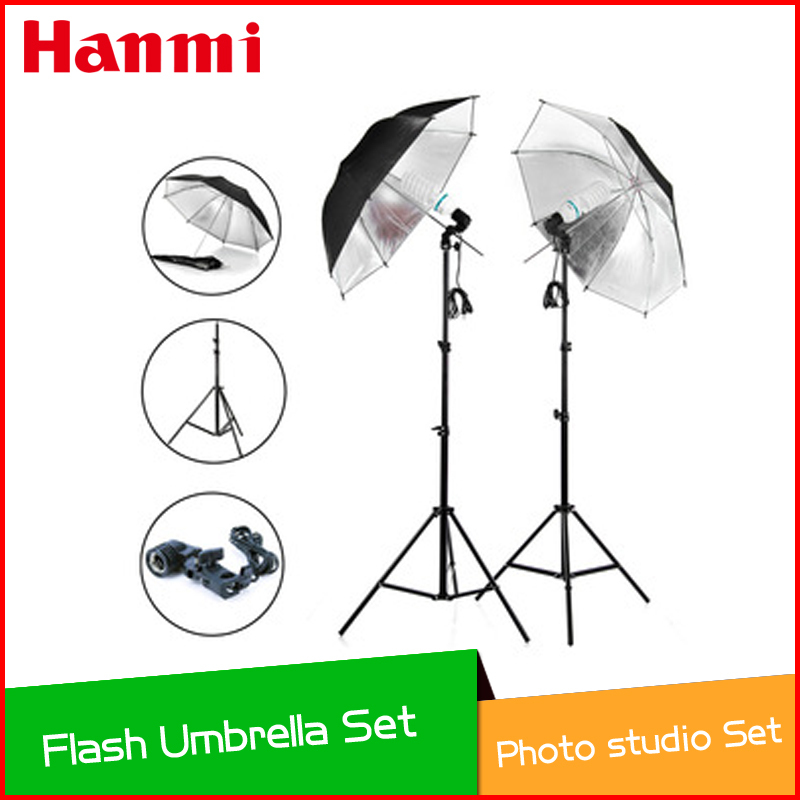 Photo studio photography set light stand studio lamp holder Black Silver Flash Reflector Photography Umbrella dhl free shipping 220w studio flash lamp holder photography light equipment 2 set photo studio strobe flash lighting lamp light