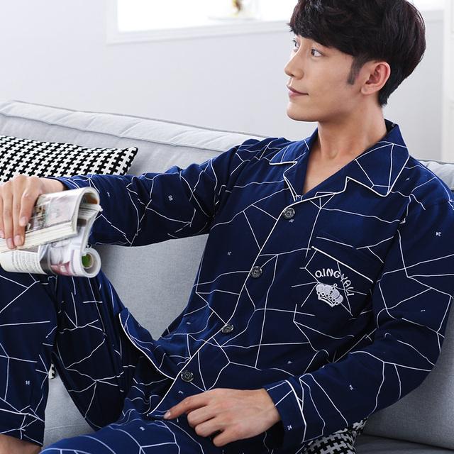 2016 otoño pijama de algodón hombres otoño de espesor completo algodón pijama hombre suelta conjuntos salón pijama