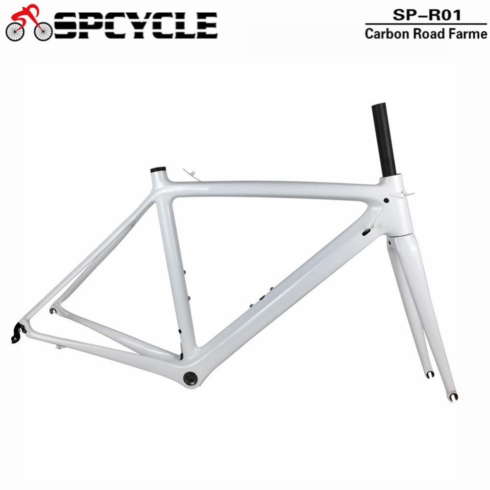Spcycle 2018 New Full Carbon Road Bike Frames T1000 Carbon Racing Road Bicycle Frameset White Color BSA or PF30 Available track frame fixed gear frame bsa carbon 1 1 2to 1 1 8 bike frameset with fork seatpost road carbon frames fixed gear frameset