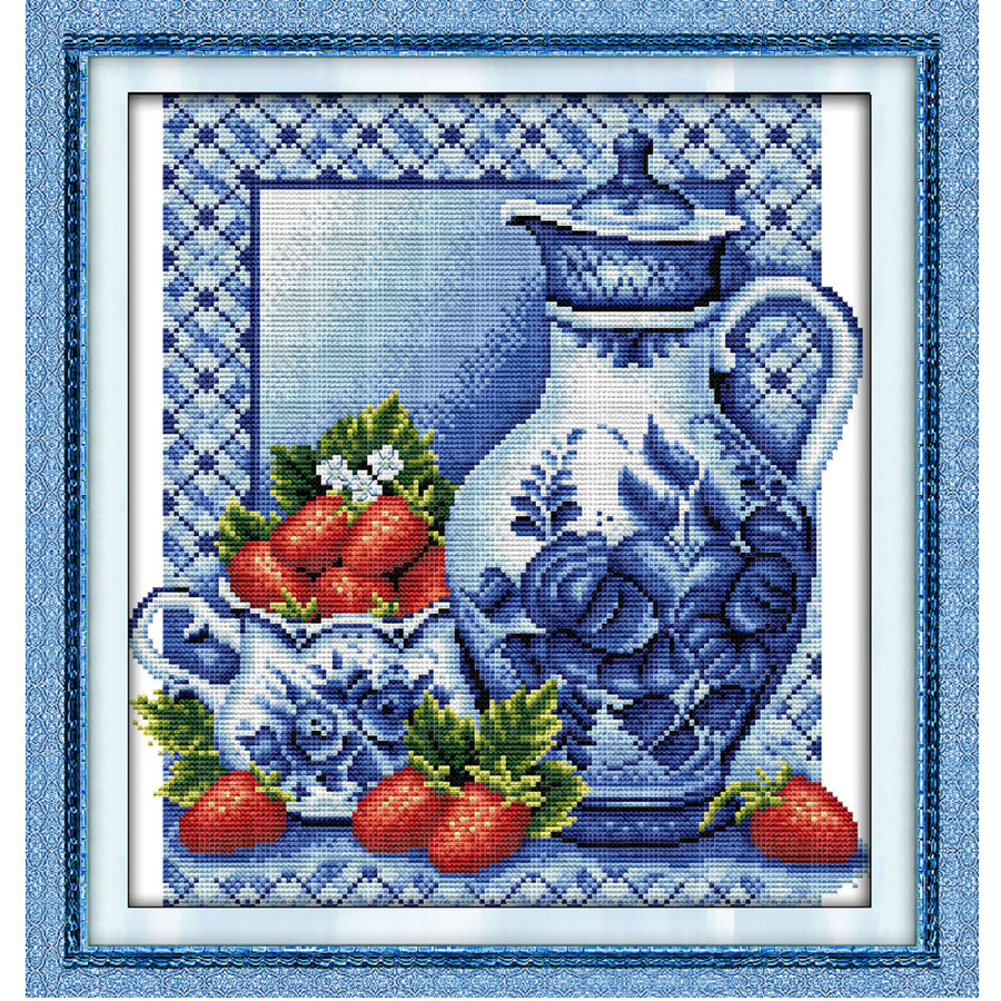 Blue and White Porcelain Fruite Painting Chinese Cross Stitch Dimensions Counted Printed On Canvas DMC 14CT 11CT Embroidery Kits
