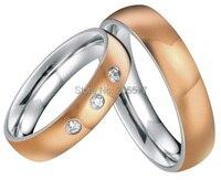Цвета розового золота пользовательские обшивки здоровья Titanium кольцо обручальное кольцо пары обручальное кольцо наборы