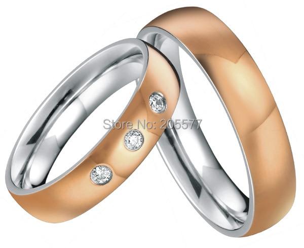 Or rose placage personnalisé santé titanium mariage bague couples bague de fiançailles ensembles