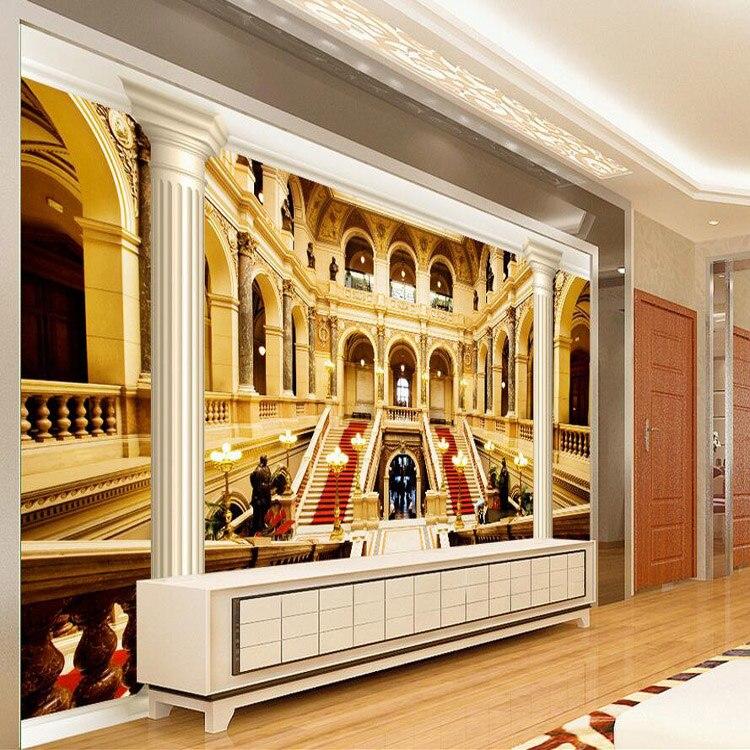 Custom Photo Wallpaper European Style Greek Palace Wallpaper Living Room Bar Hotel Lobby Ceiling 3D Mural Wallpaper