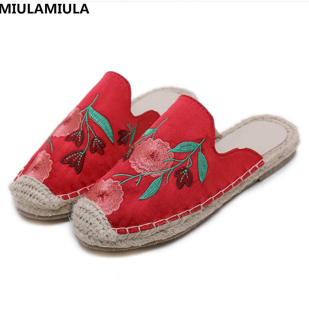 MIULAMIULA Brand Designers 2018 Hemp Bottom Embroider Flower Flat Slides Woman Shoes Slip On Slippers Loafers Mules Casual 35-40 все цены