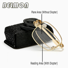 Bifocal Folding Reading Glasses Men Women Diopter Presbyopic Multi-Focal Foldable Male Eyeglasses +1.0+1.5+2.0+2.5+3.0+3.5 RS340