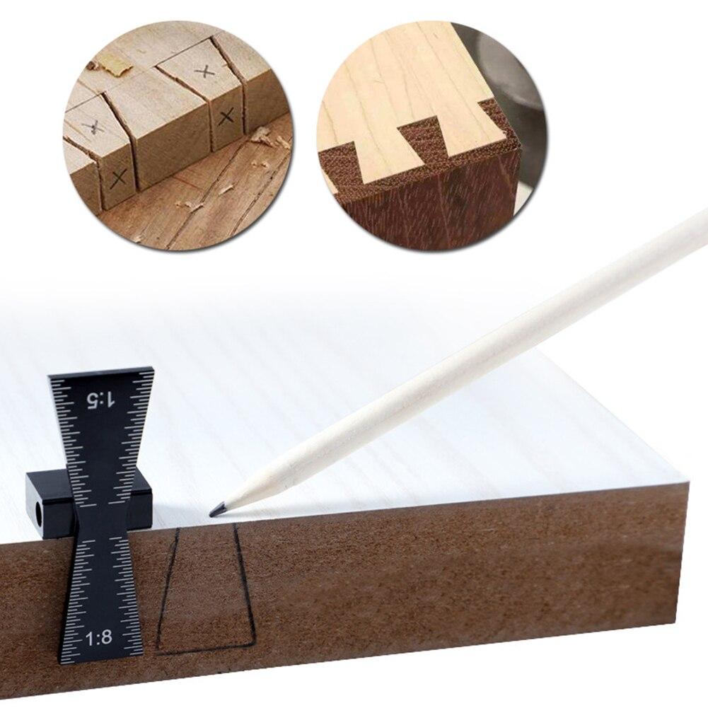 Woodworking 1:8 Hardwood Gauge Measuring Tool Dovetail Marker 1:5 Soft Wood Aluminium Alloy Light Weight Graduated Scales