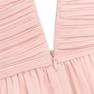 Image 5 - Księżniczka dziewczyny szyfonowa, plisowana szerokie paski na ramionach dziewczęca sukienka w kwiaty Ruched wysokiej zwężone bez rękawów linia wesele sukienka