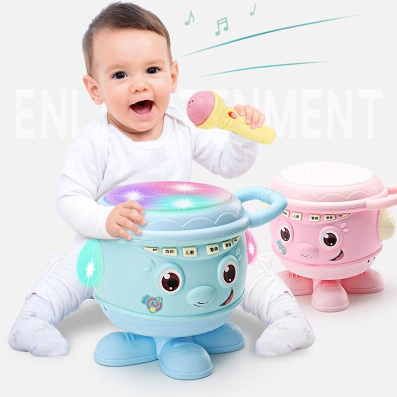Bébé Instrument de musique jouets main tambour et Microphone rose/bleu enfants projecteur lumières sons histoires jouets éducatifs pour les enfants