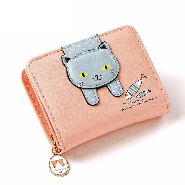 Short Womens Fashion Wallets And Purses  Zipper PU Leather
