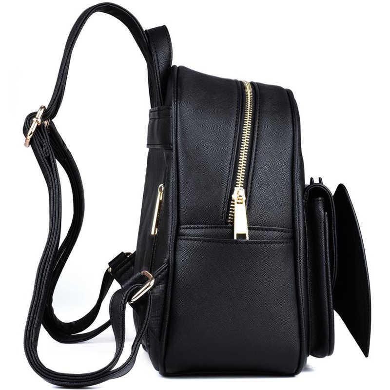 ae01325a8 ... Gothic 3D Bat Mini Backpack For Girls Ladies Stylish Black Bat Wing  Backpack PU Leather Daypack ...