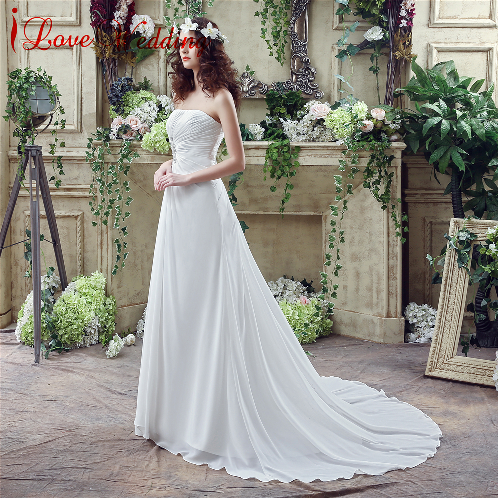 Vintage Φτηνές Γάμος Φόρεμα Στράπλες Chiffon - Γαμήλια φορέματα - Φωτογραφία 2