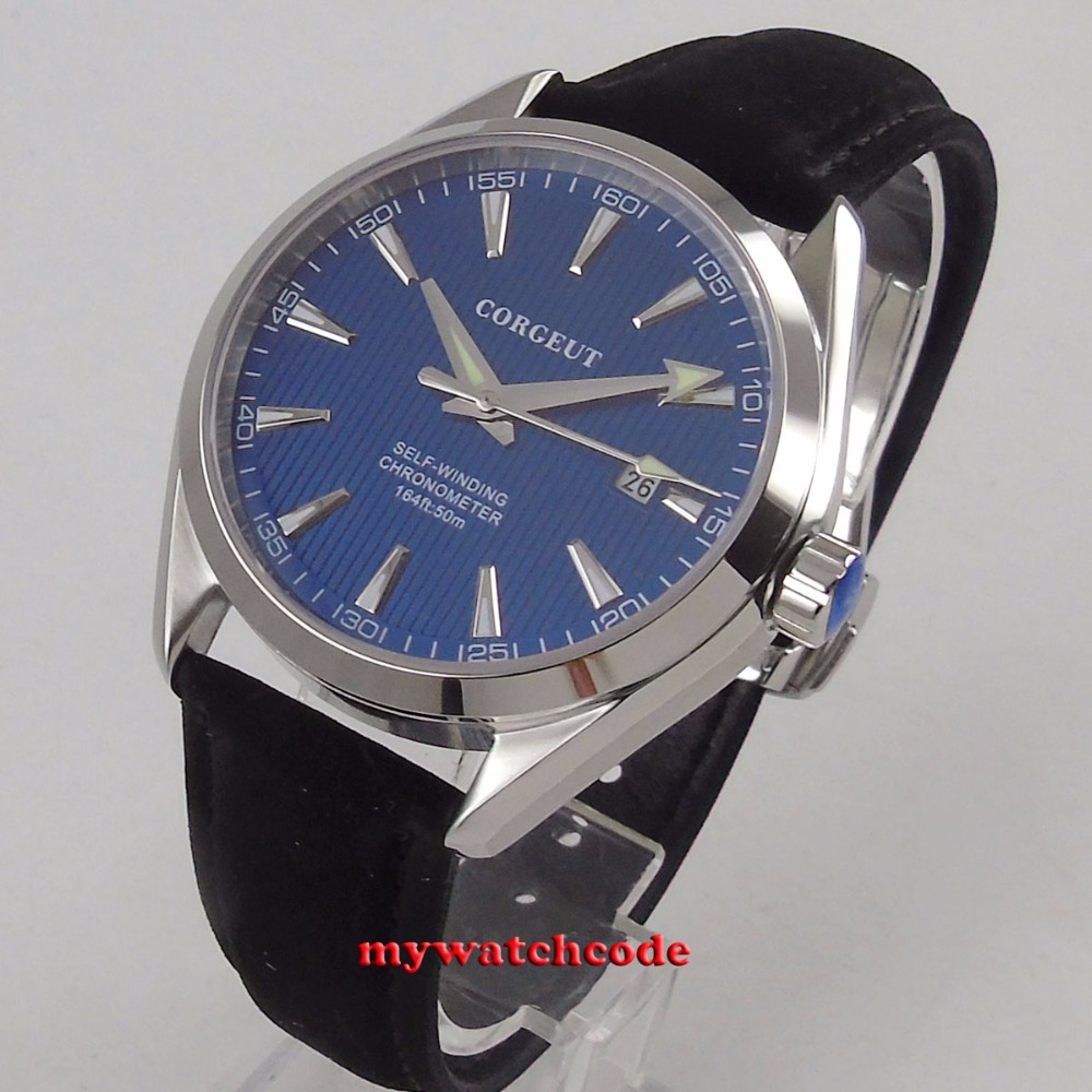 Polished 41mm corgeut blue dial Sapphire Glass miyota 821A automatic mens Watch C132 цена и фото