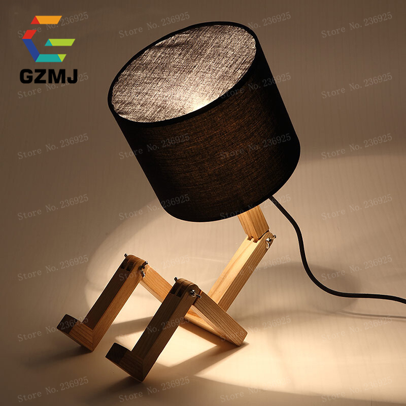 DIY Adjustable LED Table Lamp White Black Bedside Reading Study Foldable Desk Light For Student Dorm Room American Country Style In Lamps From